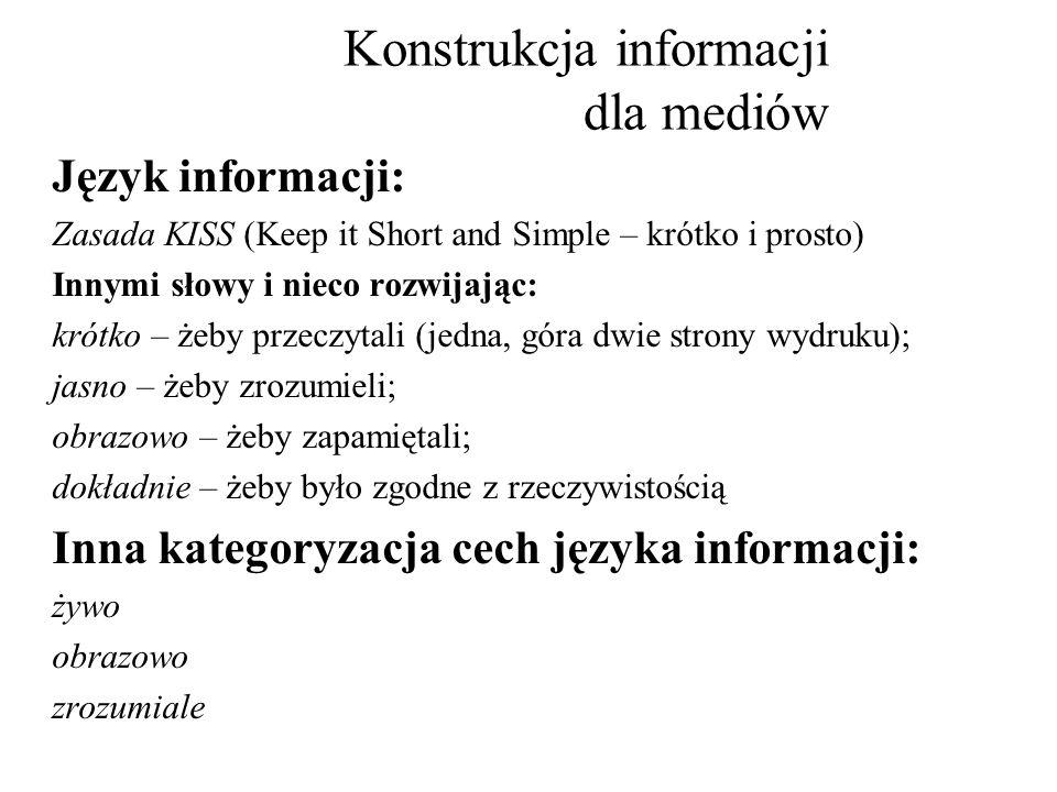 Konstrukcja informacji dla mediów Język informacji: Zasada KISS (Keep it Short and Simple – krótko i prosto) Innymi słowy i nieco rozwijając: krótko –
