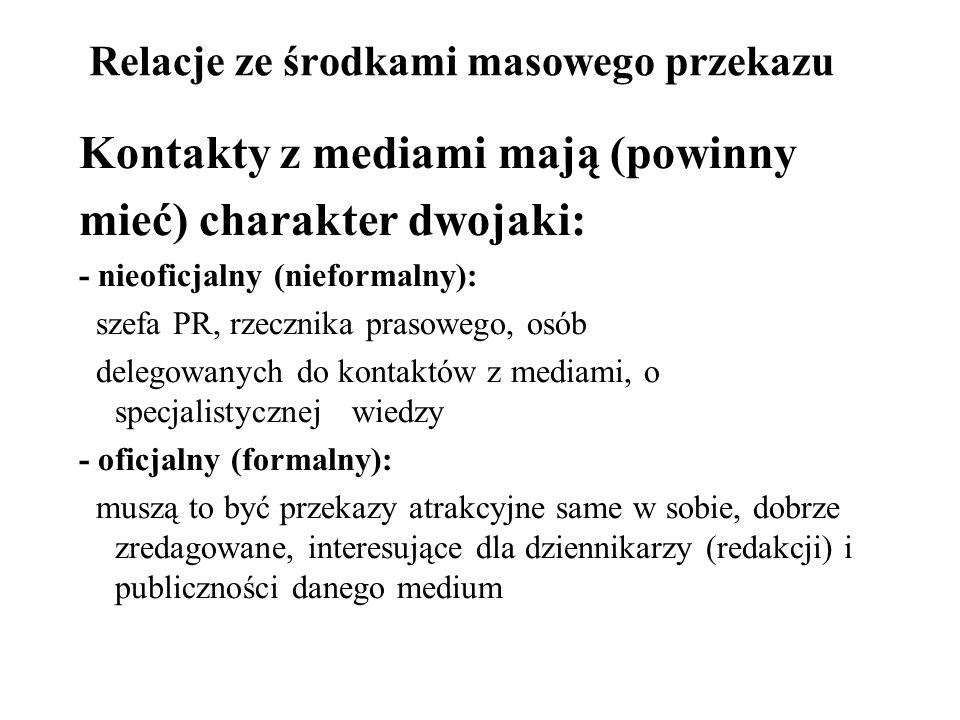 Relacje ze środkami masowego przekazu Kontakty z mediami mają (powinny mieć) charakter dwojaki: - nieoficjalny (nieformalny): szefa PR, rzecznika pras