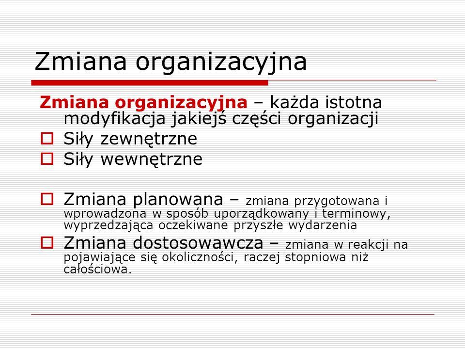 Zmiana organizacyjna Zmiana organizacyjna – każda istotna modyfikacja jakiejś części organizacji Siły zewnętrzne Siły wewnętrzne Zmiana planowana – zm