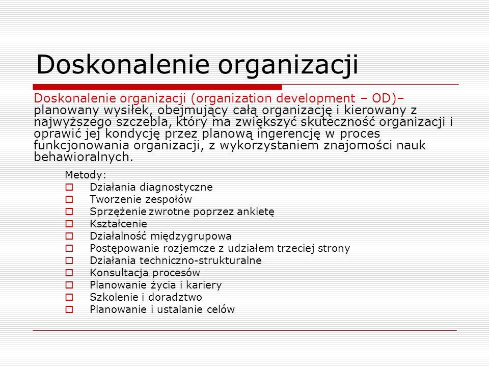 Doskonalenie organizacji Metody: Działania diagnostyczne Tworzenie zespołów Sprzężenie zwrotne poprzez ankietę Kształcenie Działalność międzygrupowa P