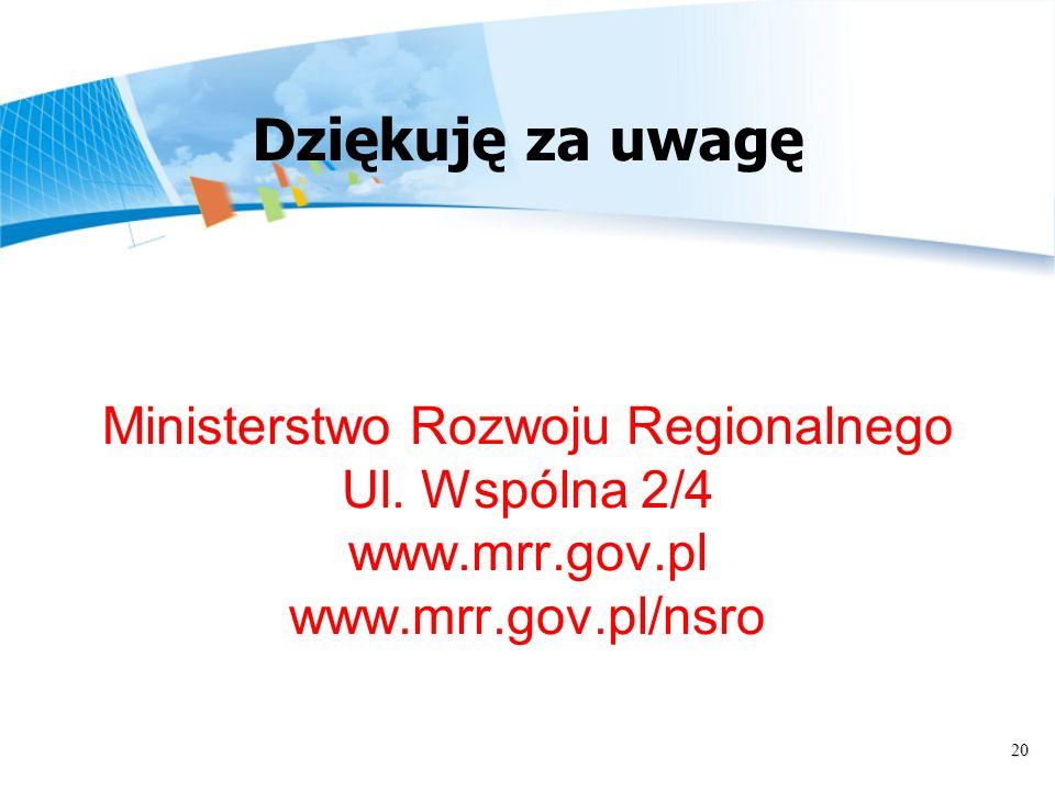 20 Ministerstwo Rozwoju Regionalnego Ul. Wspólna 2/4 www.mrr.gov.pl www.mrr.gov.pl/nsro Dziękuję za uwagę