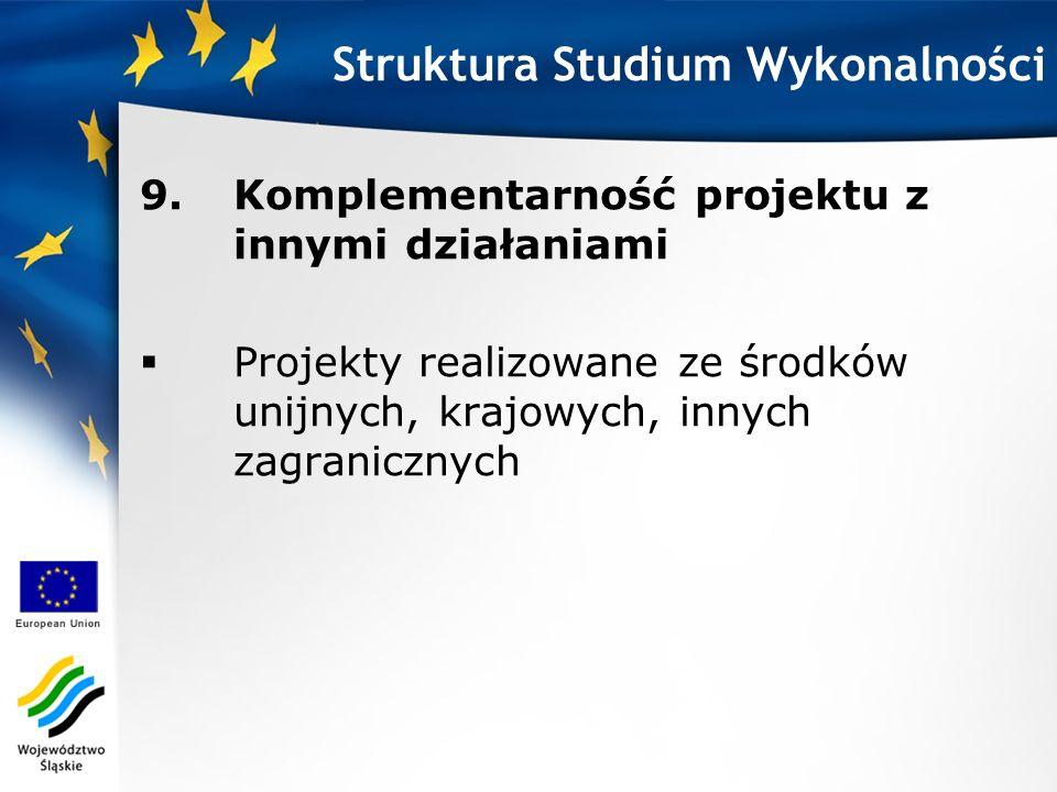 9.Komplementarność projektu z innymi działaniami Projekty realizowane ze środków unijnych, krajowych, innych zagranicznych Struktura Studium Wykonalno
