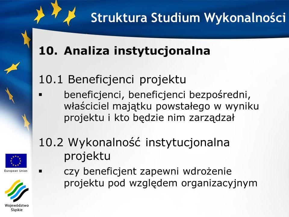 10.Analiza instytucjonalna 10.1 Beneficjenci projektu beneficjenci, beneficjenci bezpośredni, właściciel majątku powstałego w wyniku projektu i kto bę