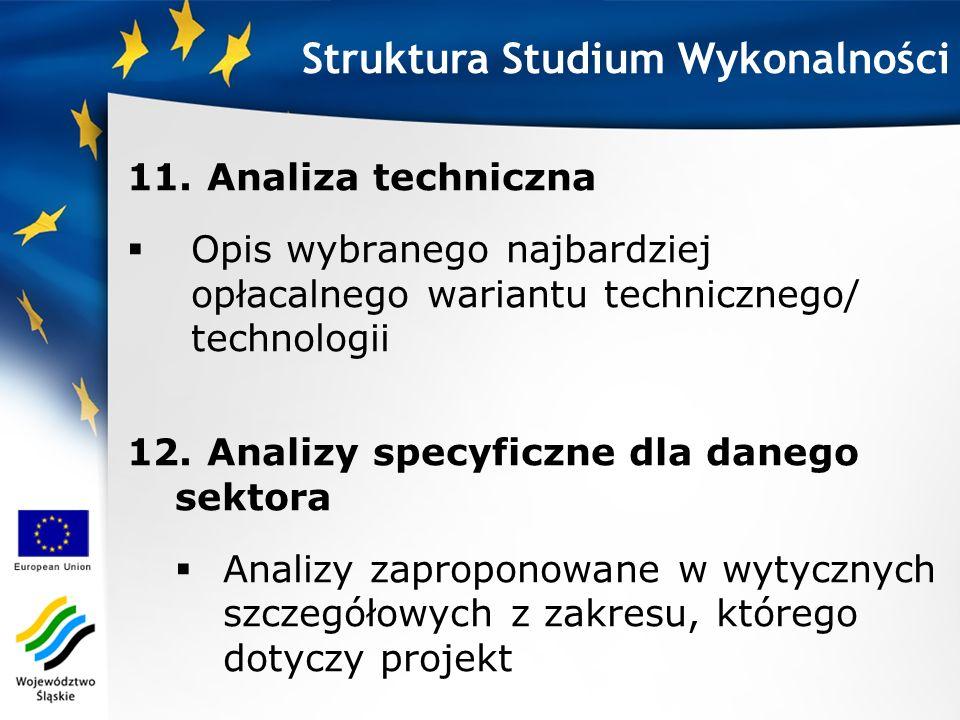 11. Analiza techniczna Opis wybranego najbardziej opłacalnego wariantu technicznego/ technologii Struktura Studium Wykonalności 12. Analizy specyficzn