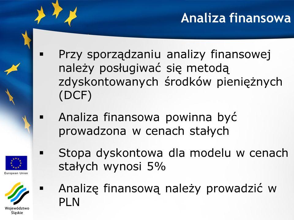 Przy sporządzaniu analizy finansowej należy posługiwać się metodą zdyskontowanych środków pieniężnych (DCF) Analiza finansowa powinna być prowadzona w