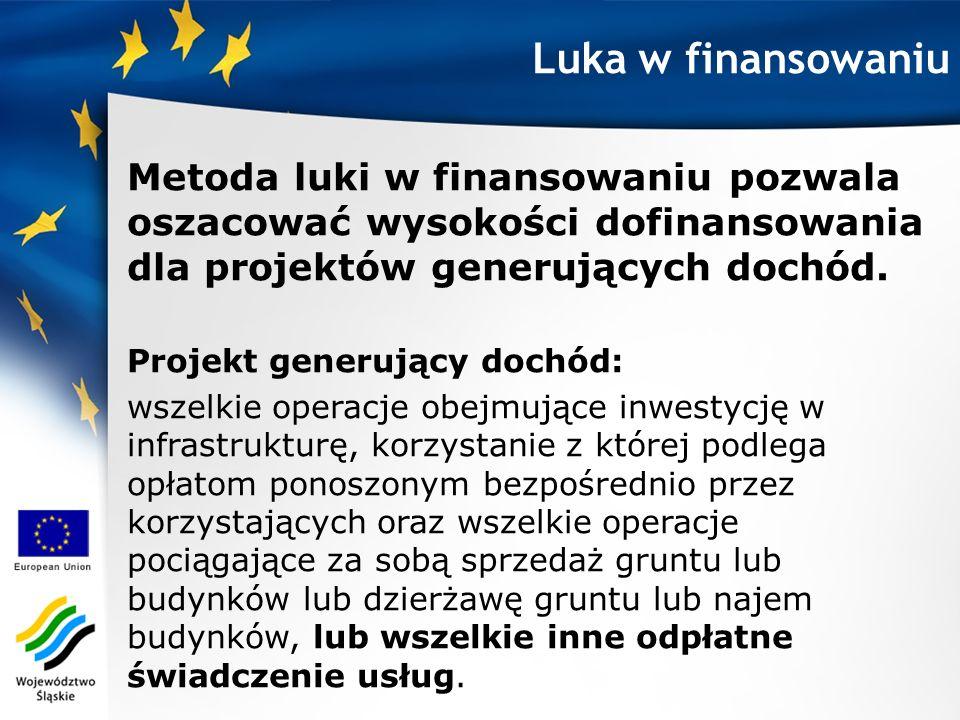 Metoda luki w finansowaniu pozwala oszacować wysokości dofinansowania dla projektów generujących dochód. Projekt generujący dochód: wszelkie operacje