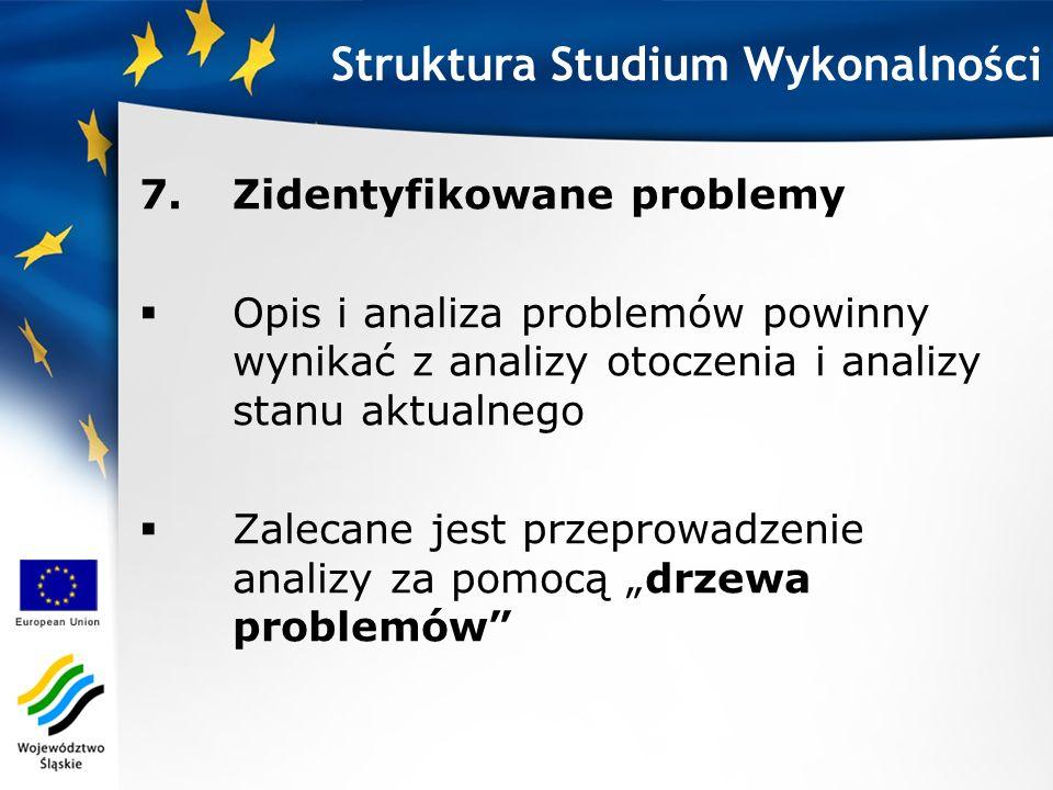 7.Zidentyfikowane problemy Opis i analiza problemów powinny wynikać z analizy otoczenia i analizy stanu aktualnego Zalecane jest przeprowadzenie anali