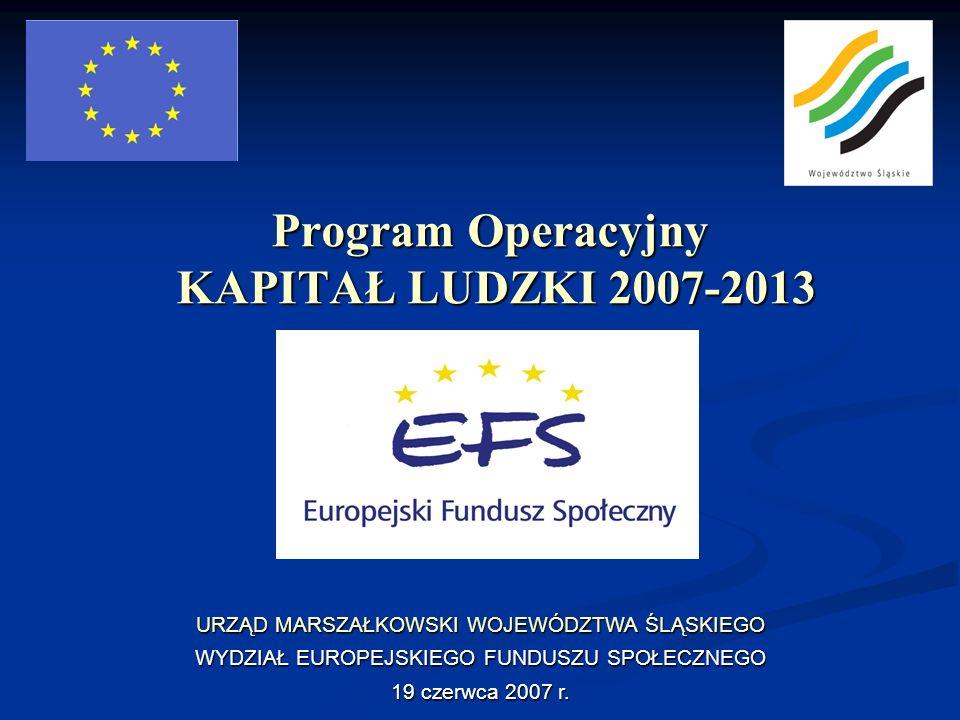 Program Operacyjny KAPITAŁ LUDZKI 2007-2013 URZĄD MARSZAŁKOWSKI WOJEWÓDZTWA ŚLĄSKIEGO WYDZIAŁ EUROPEJSKIEGO FUNDUSZU SPOŁECZNEGO 19 czerwca 2007 r.