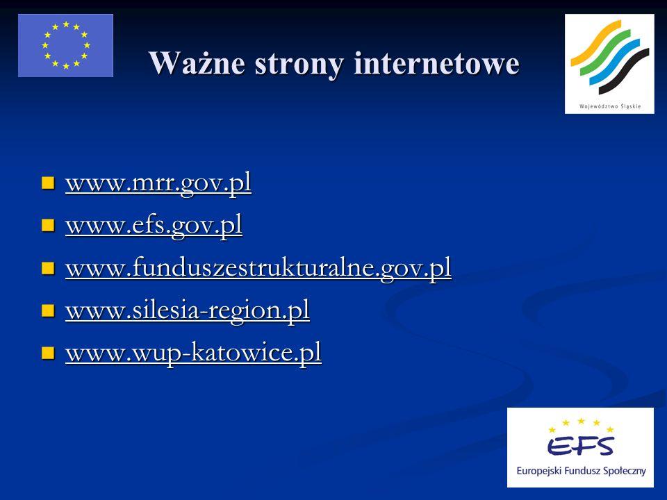 Ważne strony internetowe www.mrr.gov.pl www.mrr.gov.pl www.efs.gov.pl www.efs.gov.pl www.funduszestrukturalne.gov.pl www.funduszestrukturalne.gov.pl www.silesia-region.pl www.silesia-region.pl www.wup-katowice.pl www.wup-katowice.pl