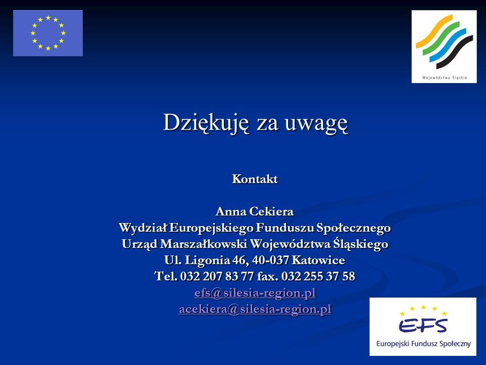 Dziękuję za uwagę Kontakt Anna Cekiera Wydział Europejskiego Funduszu Społecznego Urząd Marszałkowski Województwa Śląskiego Ul. Ligonia 46, 40-037 Kat