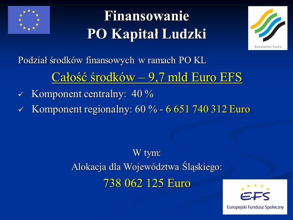 Finansowanie PO Kapitał Ludzki Podział środków finansowych w ramach PO KL Całość środków – 9,7 mld Euro EFS Komponent centralny: 40 % Komponent centralny: 40 % Komponent regionalny: 60 % - 6 651 740 312 Euro Komponent regionalny: 60 % - 6 651 740 312 Euro W tym: Alokacja dla Województwa Śląskiego: 738 062 125 Euro