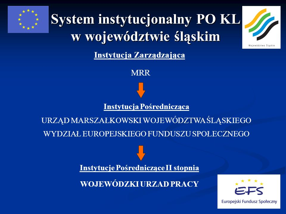 System instytucjonalny PO KL w województwie śląskim Instytucja Zarządzająca MRR Instytucja Pośrednicząca URZĄD MARSZAŁKOWSKI WOJEWÓDZTWA ŚLĄSKIEGO WYDZIAŁ EUROPEJSKIEGO FUNDUSZU SPOŁECZNEGO Instytucje Pośredniczące II stopnia WOJEWÓDZKI URZAD PRACY