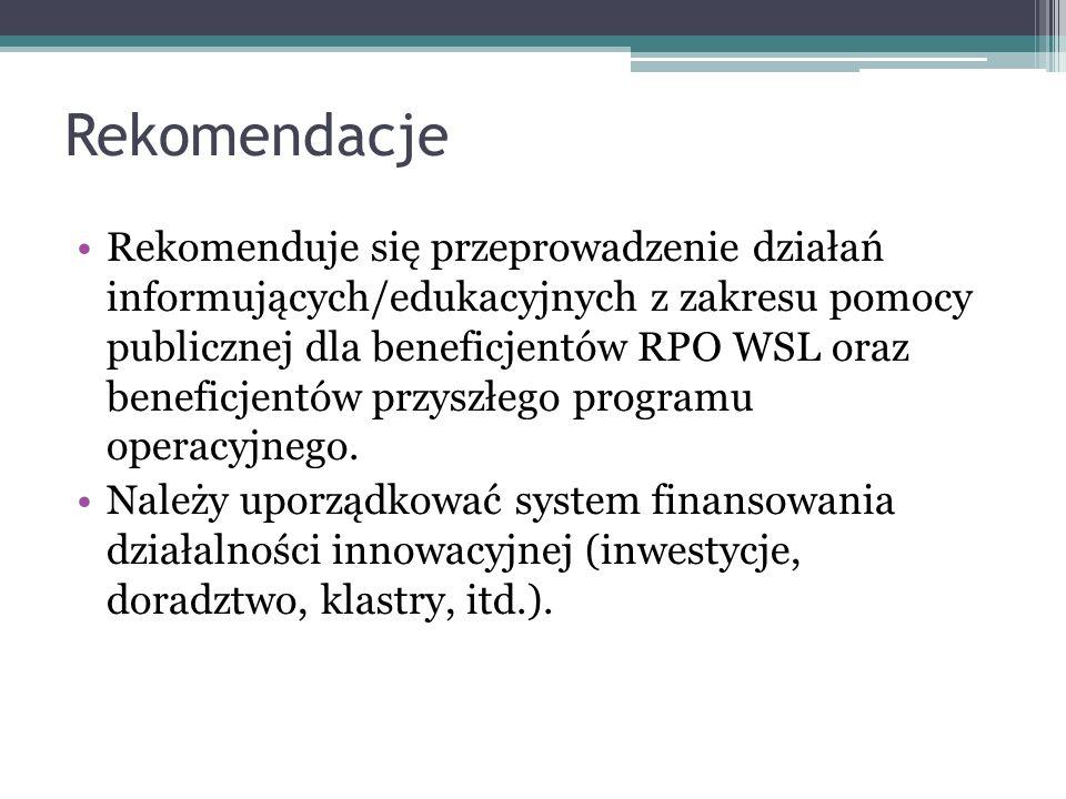 Rekomendacje Rekomenduje się przeprowadzenie działań informujących/edukacyjnych z zakresu pomocy publicznej dla beneficjentów RPO WSL oraz beneficjentów przyszłego programu operacyjnego.
