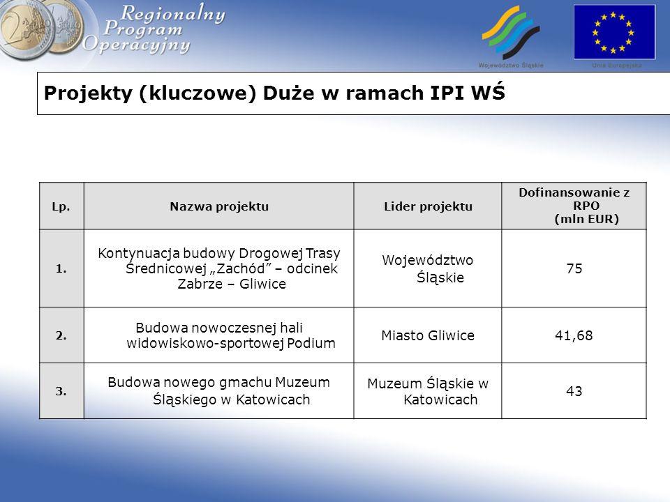 Projekty (kluczowe) Duże w ramach IPI WŚ Lp.Nazwa projektuLider projektu Dofinansowanie z RPO (mln EUR) 1. Kontynuacja budowy Drogowej Trasy Średnicow