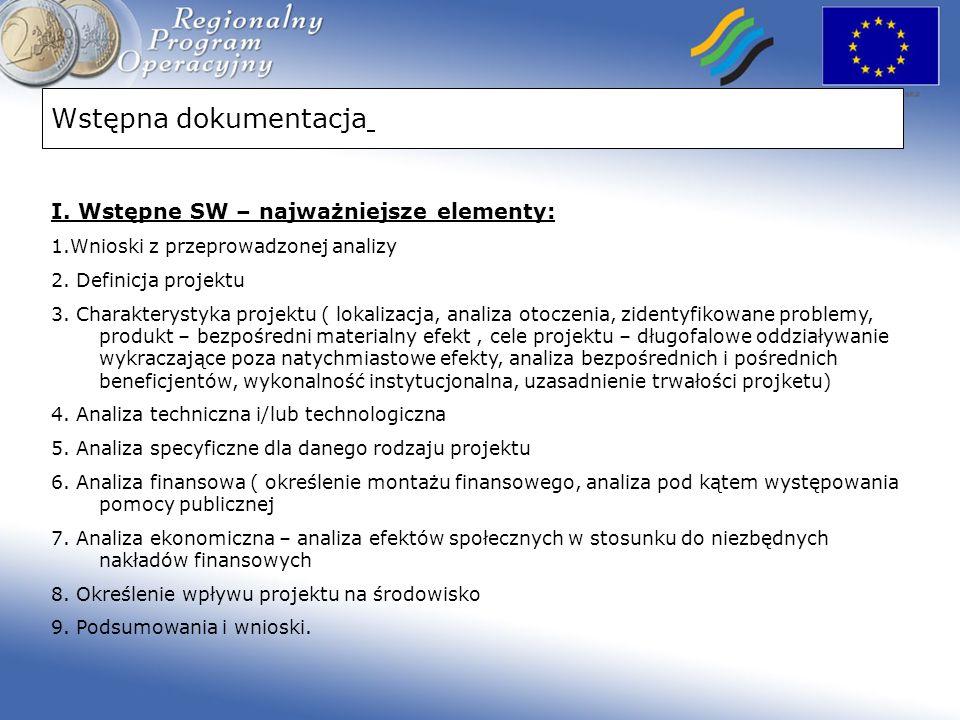Wstępna dokumentacja I. Wstępne SW – najważniejsze elementy: 1.Wnioski z przeprowadzonej analizy 2. Definicja projektu 3. Charakterystyka projektu ( l