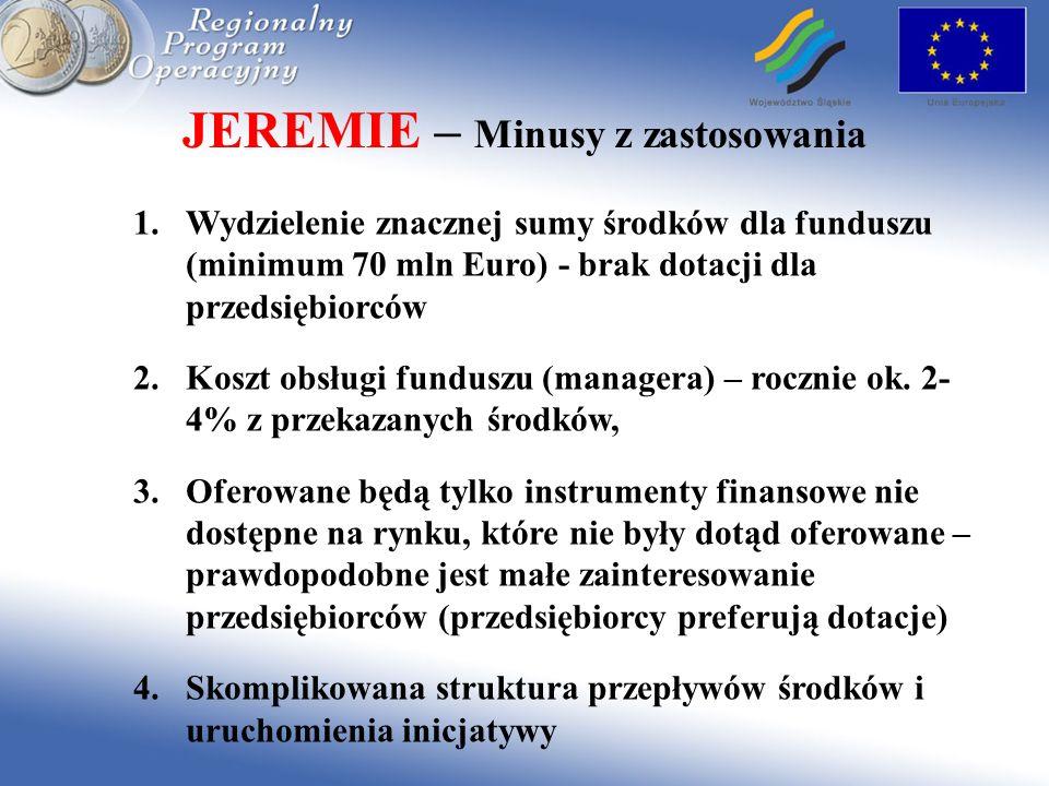 JEREMIE – Minusy z zastosowania 1.Wydzielenie znacznej sumy środków dla funduszu (minimum 70 mln Euro) - brak dotacji dla przedsiębiorców 2.Koszt obsł
