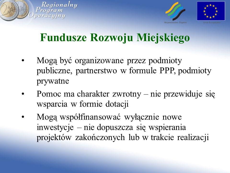 Fundusze Rozwoju Miejskiego Mogą być organizowane przez podmioty publiczne, partnerstwo w formule PPP, podmioty prywatne Pomoc ma charakter zwrotny –
