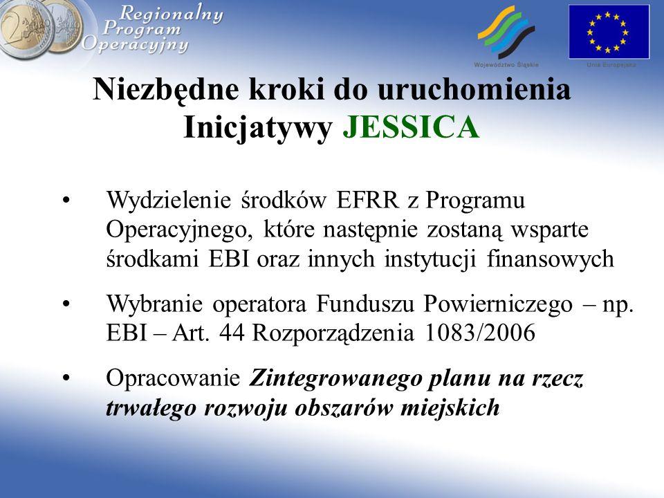 Niezbędne kroki do uruchomienia Inicjatywy JESSICA Wydzielenie środków EFRR z Programu Operacyjnego, które następnie zostaną wsparte środkami EBI oraz