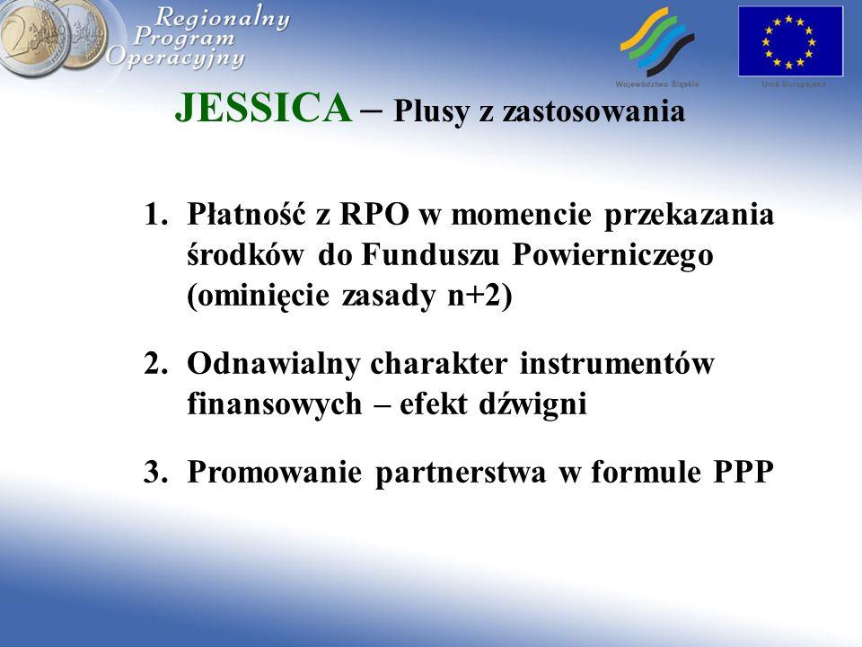 JESSICA – Plusy z zastosowania 1.Płatność z RPO w momencie przekazania środków do Funduszu Powierniczego (ominięcie zasady n+2) 2.Odnawialny charakter