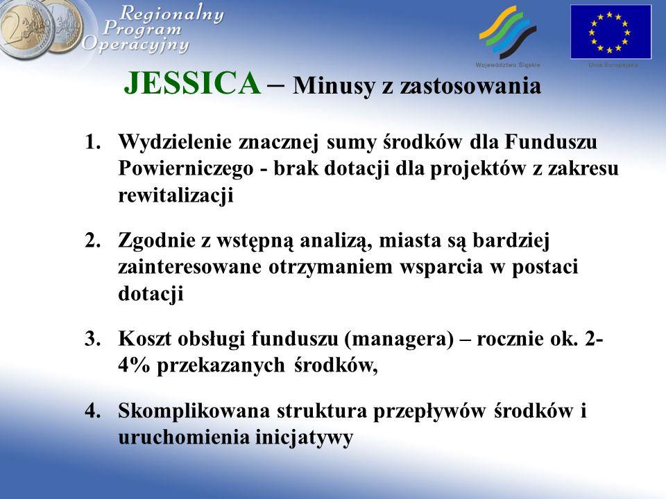 JESSICA – Minusy z zastosowania 1.Wydzielenie znacznej sumy środków dla Funduszu Powierniczego - brak dotacji dla projektów z zakresu rewitalizacji 2.