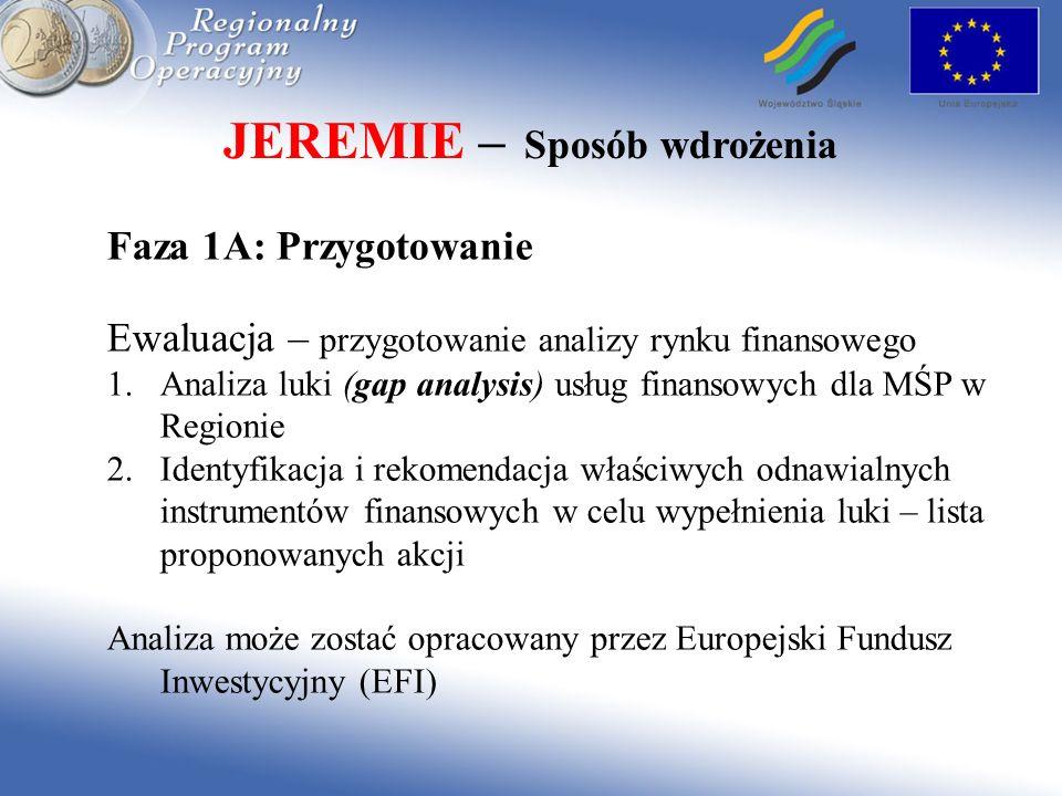 JEREMIE – Sposób wdrożenia Faza 1A: Przygotowanie Ewaluacja – przygotowanie analizy rynku finansowego 1.Analiza luki (gap analysis) usług finansowych