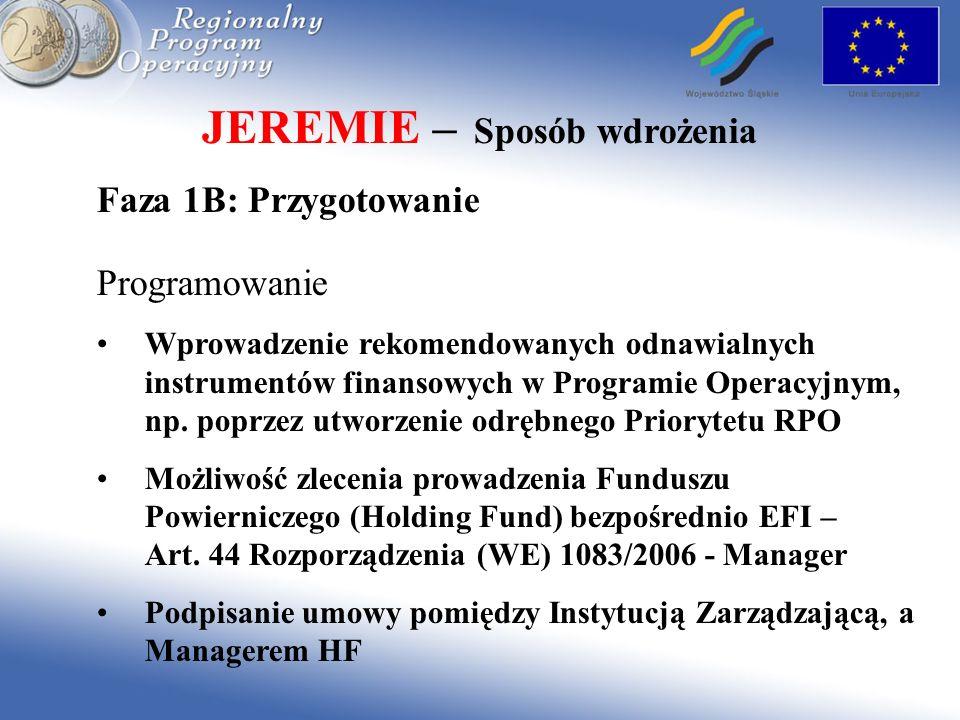 JEREMIE – Sposób wdrożenia Faza 2: Wdrożenie IZ wnosi wkład do Holding Fund – minimum 70 mln Euro HF wybiera Instytucje pośredniczące (Financial Intermediaries) HF przekazuje środki do instytucji pośredniczących