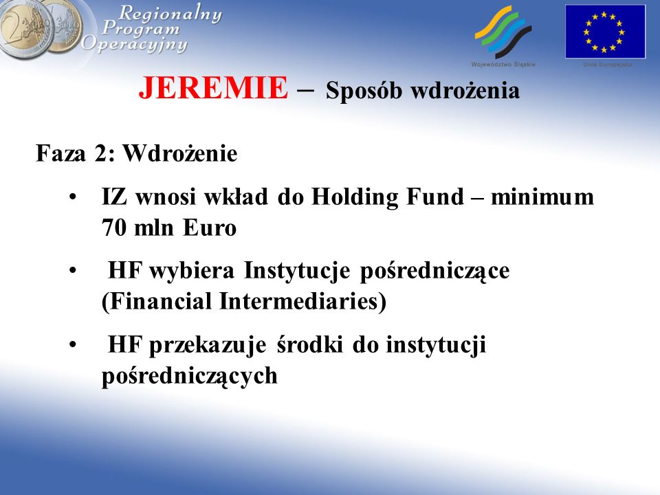 JEREMIE – Sposób wdrożenia Faza 2: Wdrożenie IZ wnosi wkład do Holding Fund – minimum 70 mln Euro HF wybiera Instytucje pośredniczące (Financial Inter