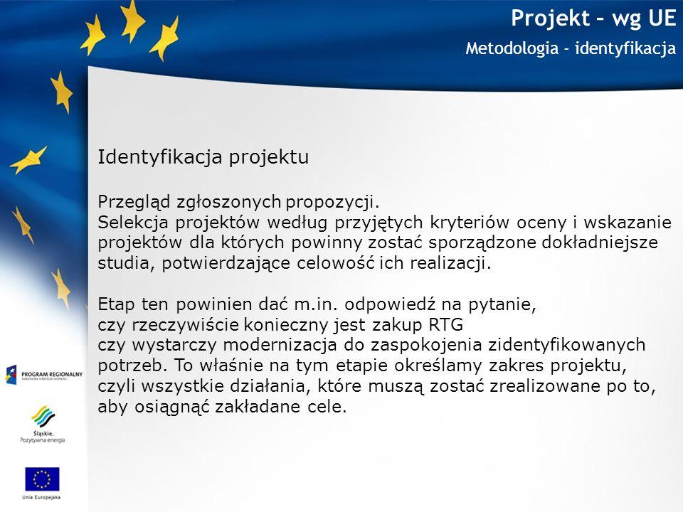 Projekt – wg UE Metodologia - identyfikacja Identyfikacja projektu Przegląd zgłoszonych propozycji. Selekcja projektów według przyjętych kryteriów oce