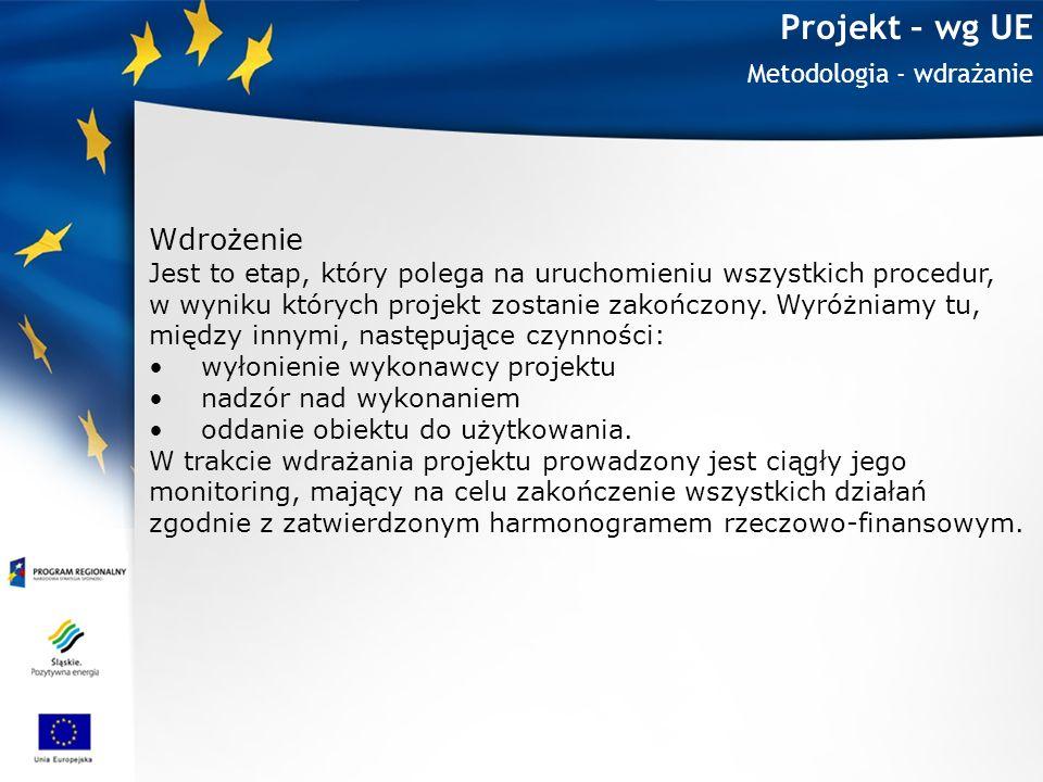 Projekt – wg UE Metodologia - wdrażanie Wdrożenie Jest to etap, który polega na uruchomieniu wszystkich procedur, w wyniku których projekt zostanie za
