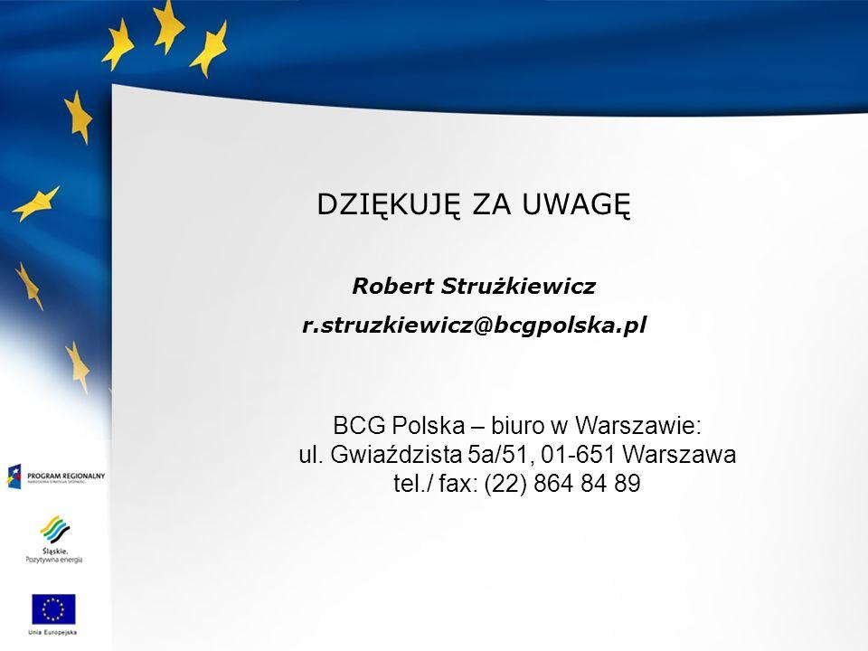 DZIĘKUJĘ ZA UWAGĘ Robert Strużkiewicz r.struzkiewicz@bcgpolska.pl BCG Polska – biuro w Warszawie: ul. Gwiaździsta 5a/51, 01-651 Warszawa tel./ fax: (2