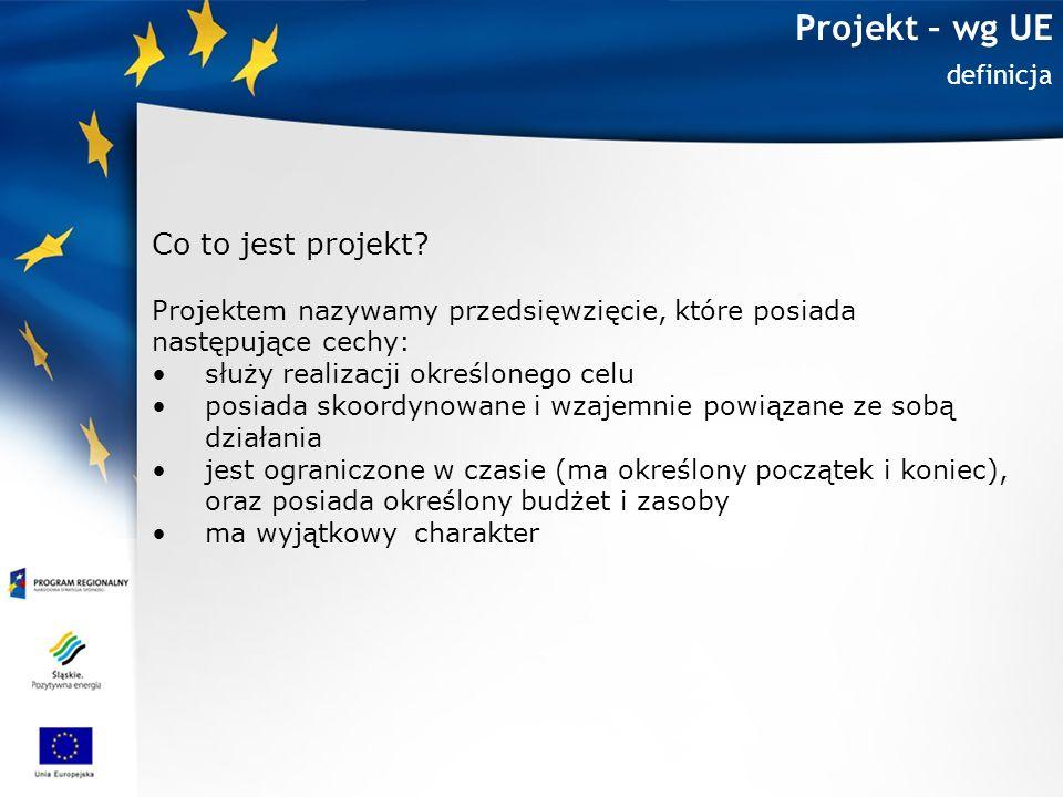 Projekt – wg UE Cel projektu Służy realizacji określonego celu Projekt ma swój początek i koniec = stanowi pewną zamkniętą całość Nie realizujemy go tylko dla samej realizacji Projekt jest zawsze częścią większego planu (programu)
