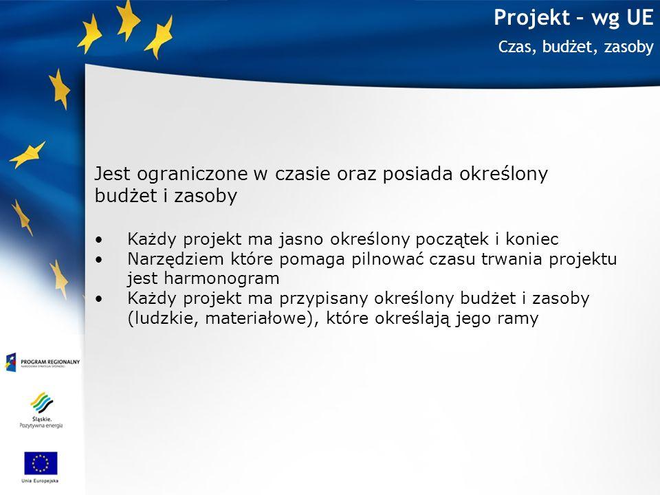 Projekt – wg UE Czas, budżet, zasoby Jest ograniczone w czasie oraz posiada określony budżet i zasoby Każdy projekt ma jasno określony początek i koni