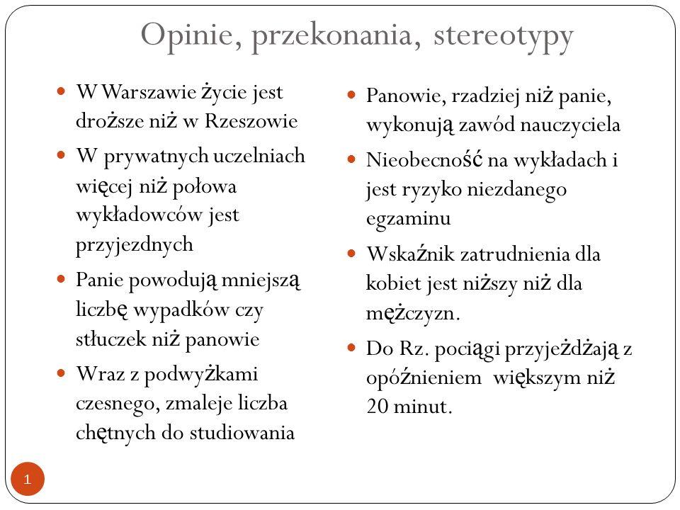 Opinie, przekonania, stereotypy W Warszawie ż ycie jest dro ż sze ni ż w Rzeszowie W prywatnych uczelniach wi ę cej ni ż połowa wykładowców jest przyj