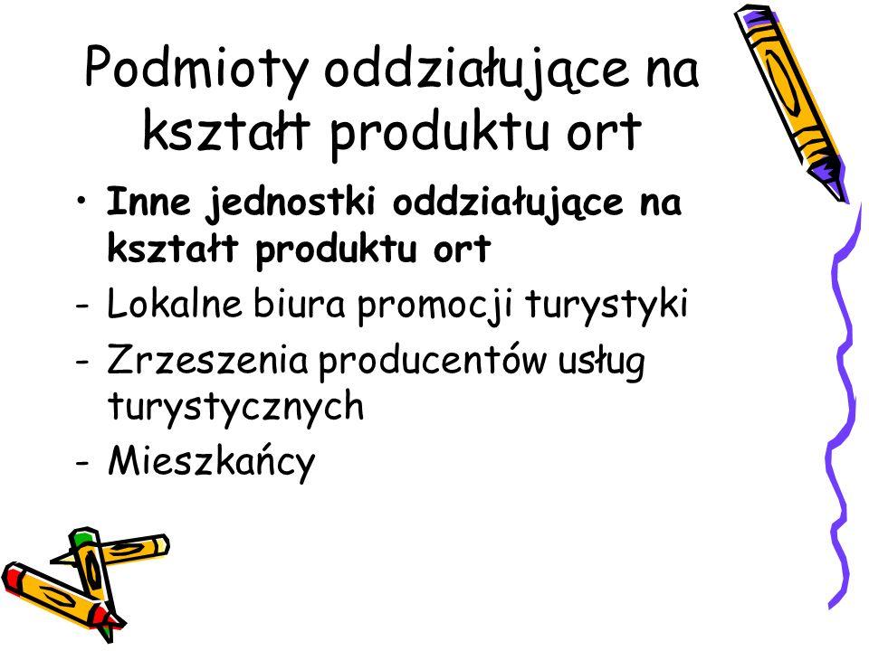 Podmioty uczestniczące w promocji i dystrybucji produktu ort JEDNOSTKI SEKTORA PRYWATNEGO Wytwórcy specyficznych produktów turystycznych (np.