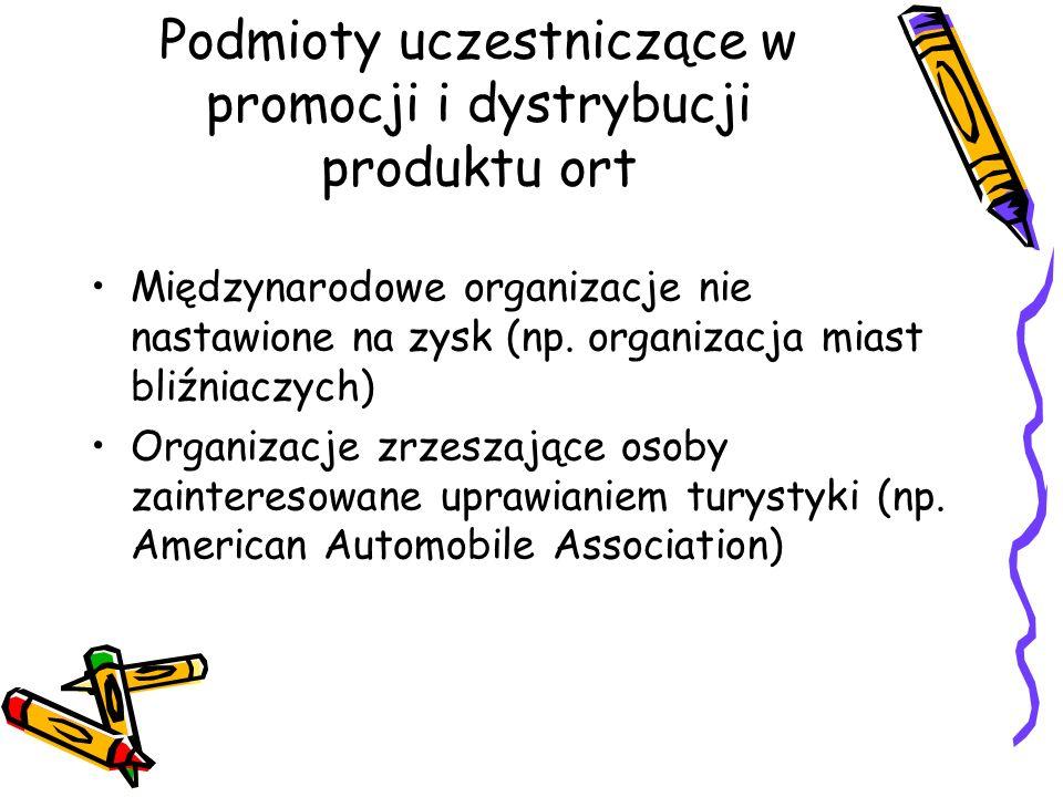 Podmioty uczestniczące w promocji i dystrybucji produktu ort Międzynarodowe organizacje nie nastawione na zysk (np. organizacja miast bliźniaczych) Or