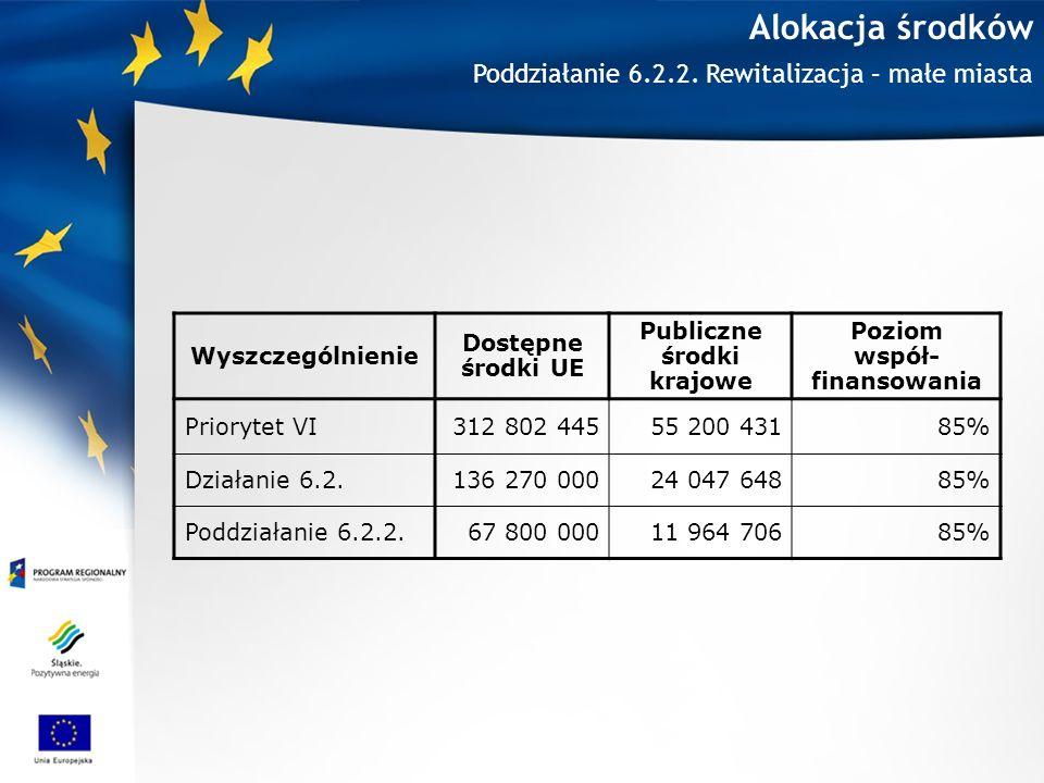 Alokacja środków Wyszczególnienie Dostępne środki UE Publiczne środki krajowe Poziom współ- finansowania Priorytet VI312 802 44555 200 43185% Działanie 6.2.136 270 00024 047 64885% Poddziałanie 6.2.2.67 800 00011 964 70685% Poddziałanie 6.2.2.