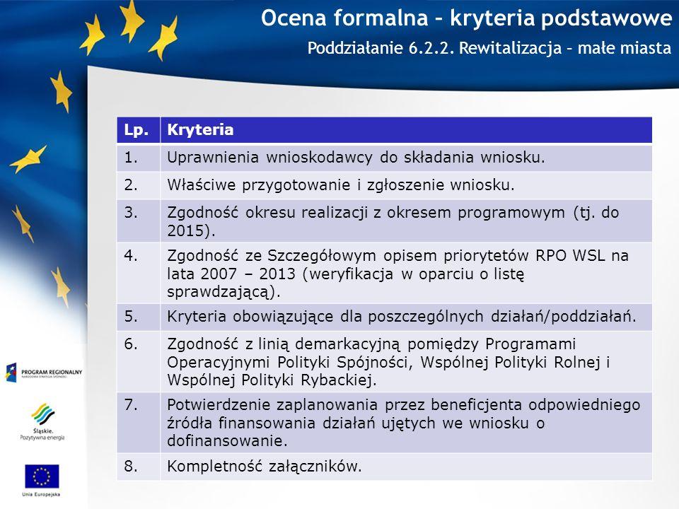 Ocena formalna – kryteria podstawowe Lp.Kryteria 1.Uprawnienia wnioskodawcy do składania wniosku.