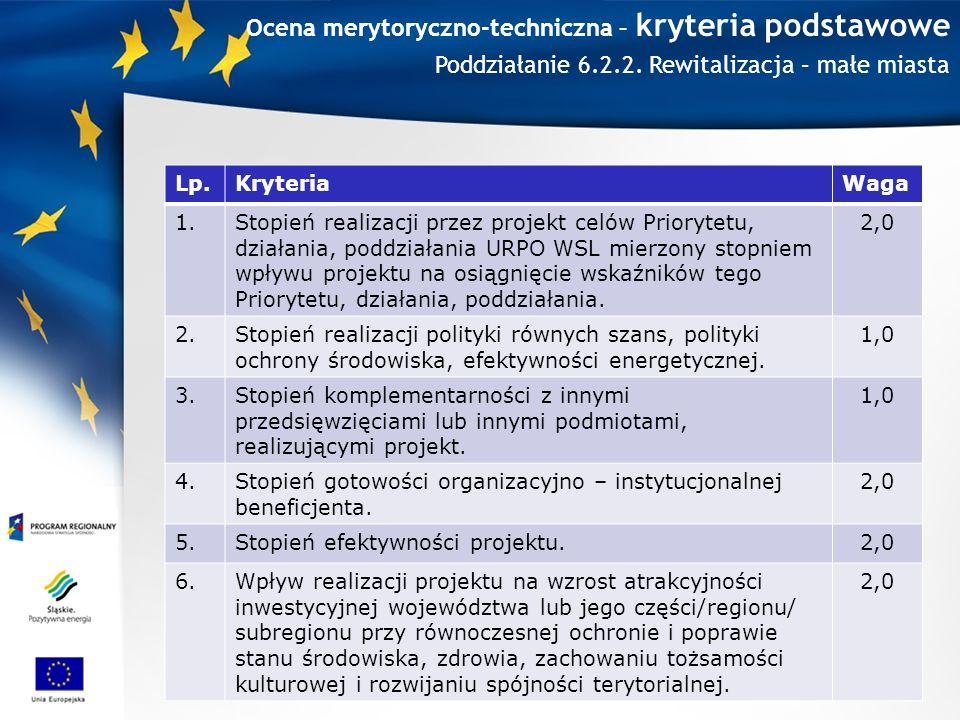 Ocena merytoryczno-techniczna – kryteria podstawowe Lp.KryteriaWaga 1.Stopień realizacji przez projekt celów Priorytetu, działania, poddziałania URPO WSL mierzony stopniem wpływu projektu na osiągnięcie wskaźników tego Priorytetu, działania, poddziałania.