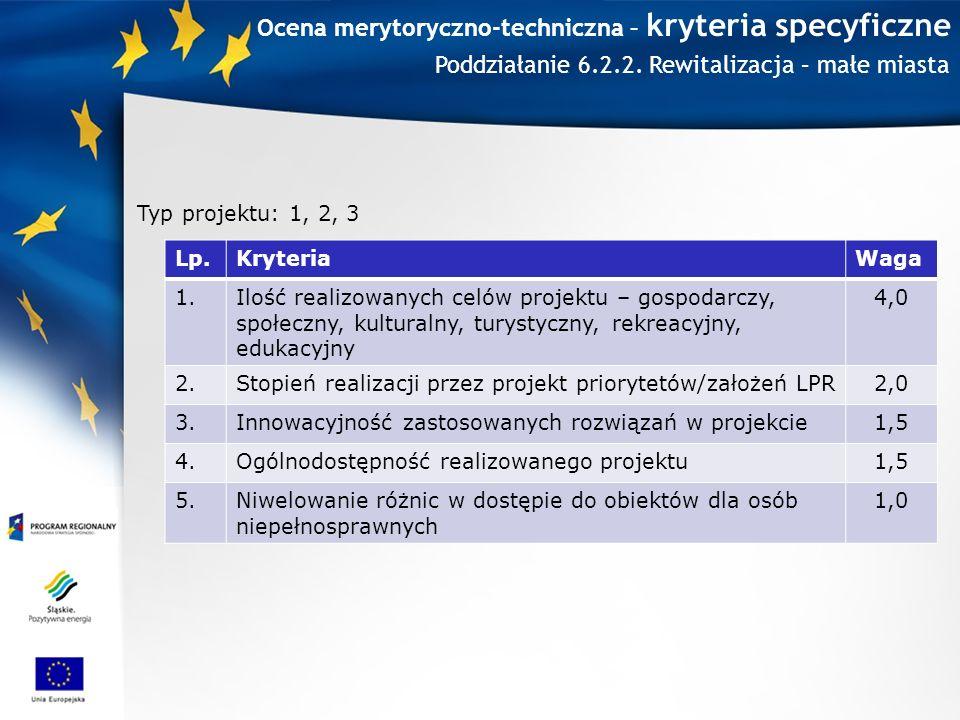 Ocena merytoryczno-techniczna – kryteria specyficzne Lp.KryteriaWaga 1.Ilość realizowanych celów projektu – gospodarczy, społeczny, kulturalny, turystyczny, rekreacyjny, edukacyjny 4,0 2.Stopień realizacji przez projekt priorytetów/założeń LPR2,0 3.Innowacyjność zastosowanych rozwiązań w projekcie1,5 4.Ogólnodostępność realizowanego projektu1,5 5.Niwelowanie różnic w dostępie do obiektów dla osób niepełnosprawnych 1,0 Typ projektu: 1, 2, 3 Poddziałanie 6.2.2.