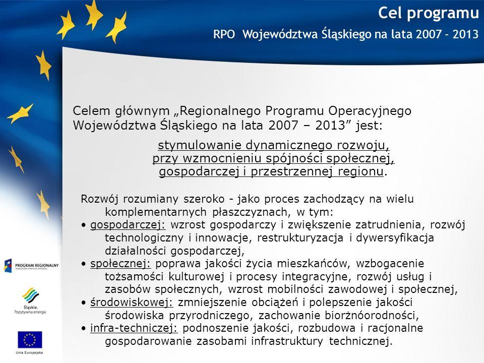 Cel programu Celem głównym Regionalnego Programu Operacyjnego Województwa Śląskiego na lata 2007 – 2013 jest: stymulowanie dynamicznego rozwoju, przy wzmocnieniu spójności społecznej, gospodarczej i przestrzennej regionu.