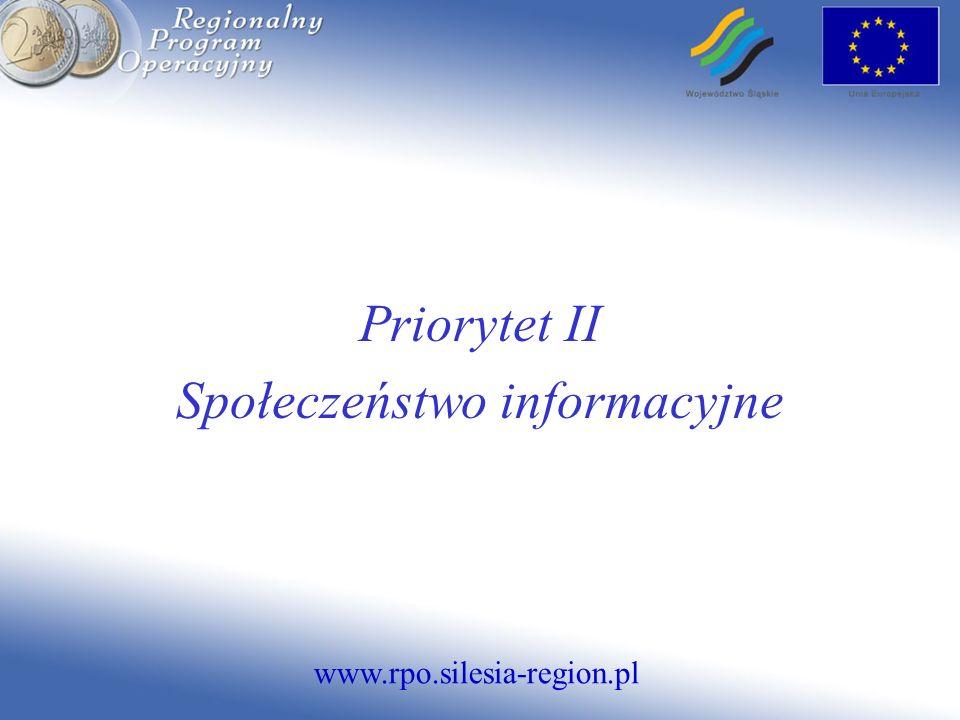 www.rpo.silesia-region.pl Priorytet II Społeczeństwo informacyjne