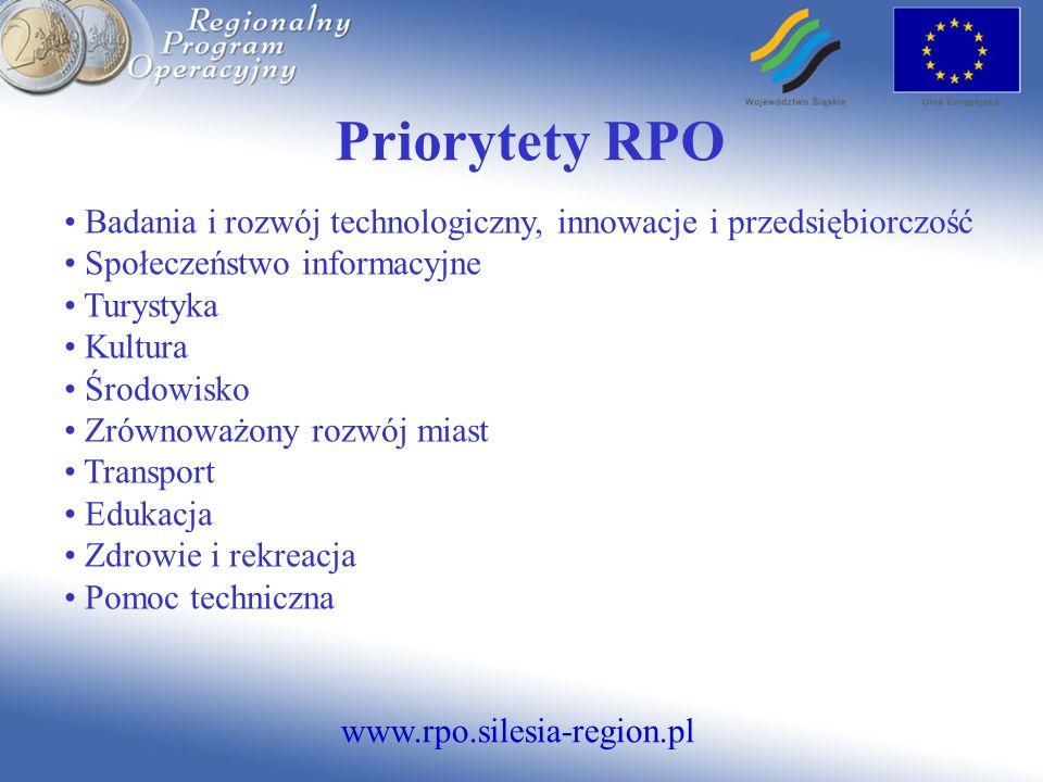 www.rpo.silesia-region.pl Priorytet III -Turystyka Działania ALOKACJA (mln EUR) % ALOKACJI 3.1 Infrastruktura zaplecza turystycznego25,591,61 3.2 Infrastruktura okołoturystyczna241,51 3.3 Systemy informacji turystycznej60,38 3.4 Promocja turystyki80,5