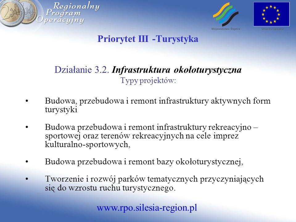 www.rpo.silesia-region.pl Priorytet III -Turystyka Działanie 3.2. Infrastruktura okołoturystyczna Typy projektów: Budowa, przebudowa i remont infrastr