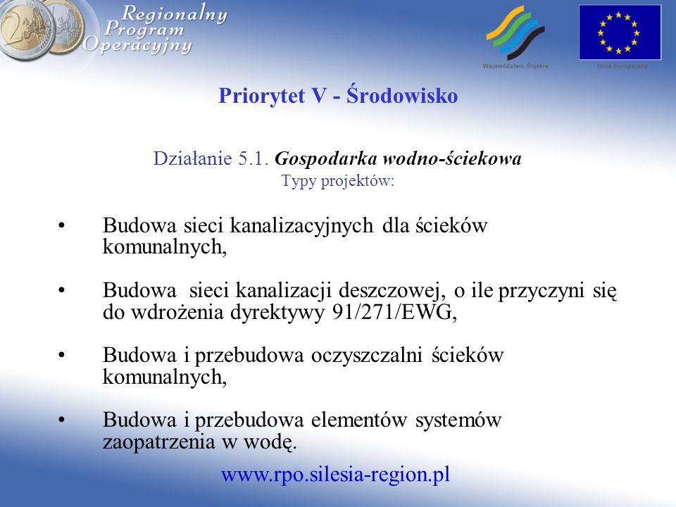 www.rpo.silesia-region.pl Priorytet V - Środowisko Działanie 5.1. Gospodarka wodno-ściekowa Typy projektów: Budowa sieci kanalizacyjnych dla ścieków k