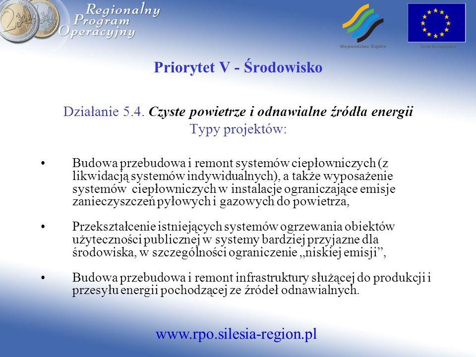 www.rpo.silesia-region.pl Priorytet V - Środowisko Działanie 5.4. Czyste powietrze i odnawialne źródła energii Typy projektów: Budowa przebudowa i rem
