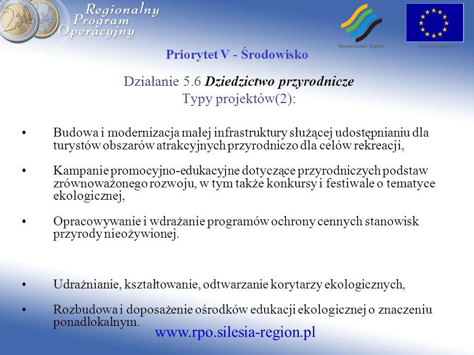 www.rpo.silesia-region.pl Priorytet V - Środowisko Działanie 5.6 Dziedzictwo przyrodnicze Typy projektów(2): Budowa i modernizacja małej infrastruktur