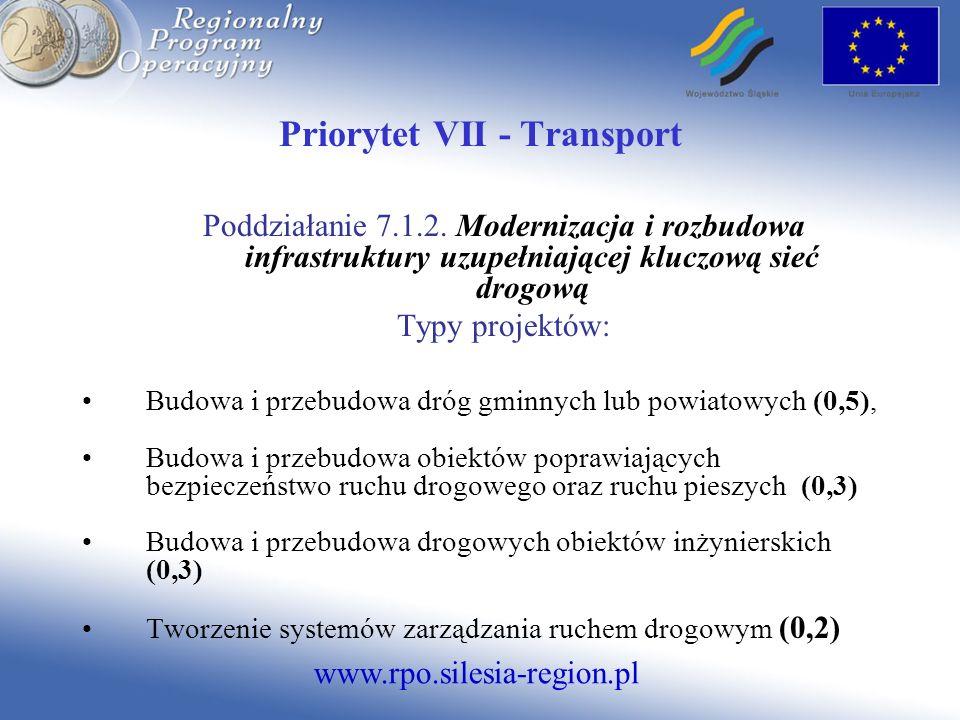www.rpo.silesia-region.pl Priorytet VII - Transport Poddziałanie 7.1.2. Modernizacja i rozbudowa infrastruktury uzupełniającej kluczową sieć drogową T
