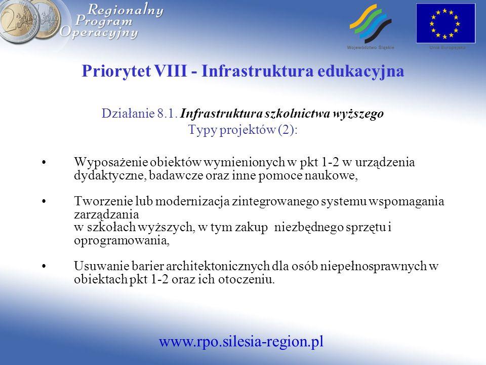 www.rpo.silesia-region.pl Priorytet VIII - Infrastruktura edukacyjna Działanie 8.1. Infrastruktura szkolnictwa wyższego Typy projektów (2): Wyposażeni