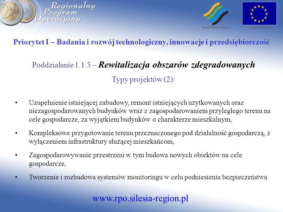www.rpo.silesia-region.pl Priorytet I – Badania i rozwój technologiczny, innowacje i przedsiębiorczość Działanie 1.2- Mikroprzedsiębiorstwa i MSP Poddziałanie 1.2.1 – Mikroprzedsiębiorstwa Typy projektów (1): Utworzenie nowego lub rozbudowa przedsiębiorstwa, Rozszerzenie zakresu działalności gospodarczej, Wdrażanie wspólnych przedsięwzięć inwestycyjnych podejmowanych przez przedsiębiorstwa