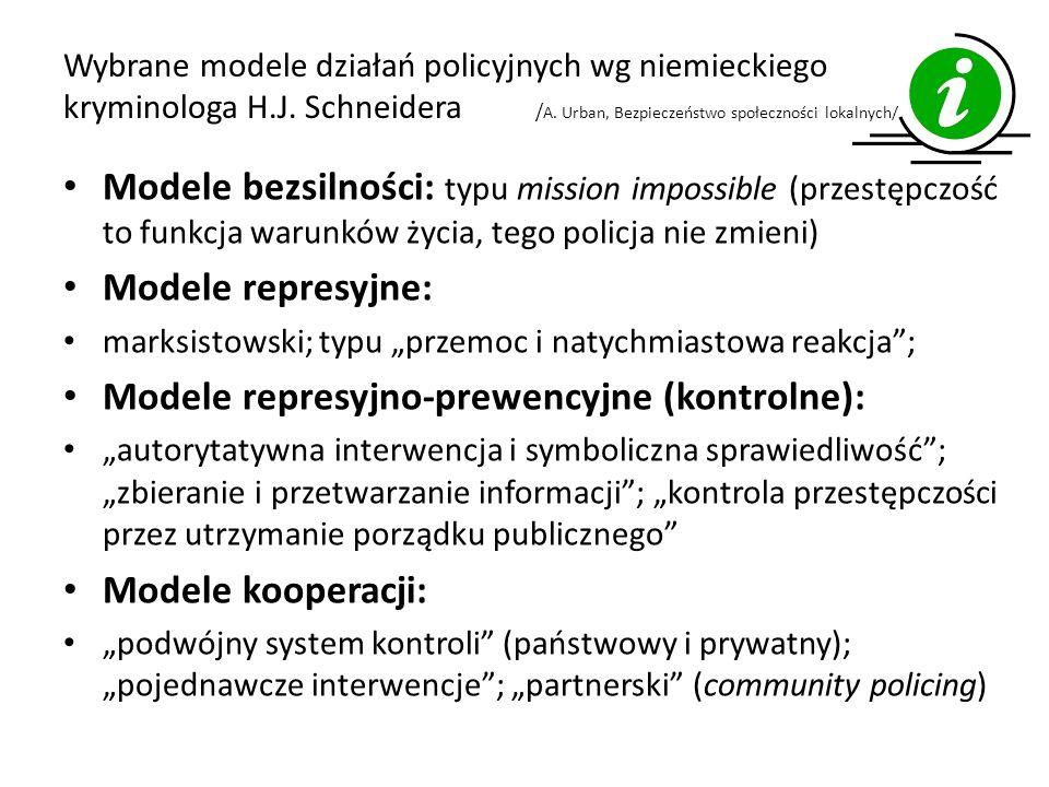 Wybrane modele działań policyjnych wg niemieckiego kryminologa H.J.